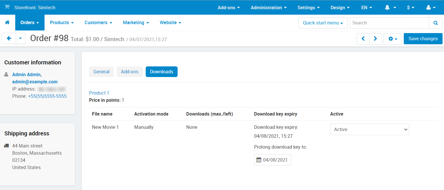 Downloadable files among other order information in the admin panel.