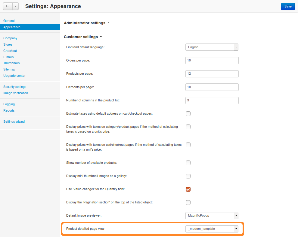 You can select the new custom template in the Administration panel, even though it lacks a name yet.