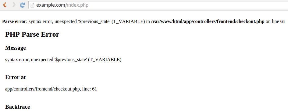 An error message in CS-Cart as it appears in the developer mode.
