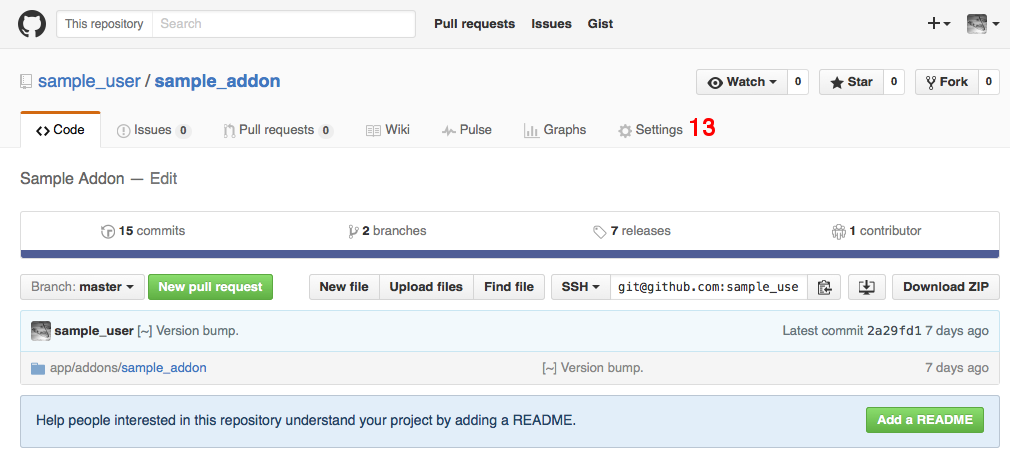 Switch to the Settings tab in your GitHub repository.