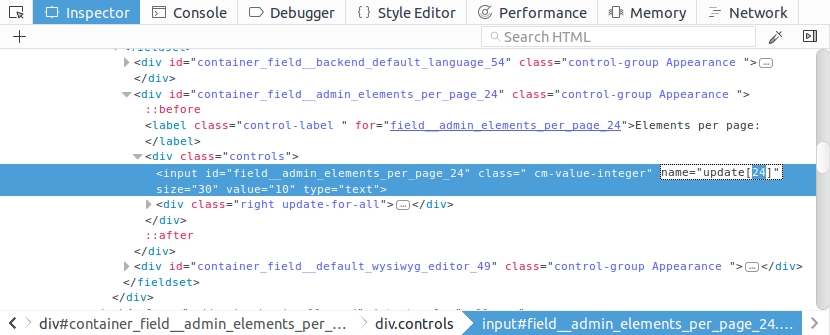 The identifier of the setting in the page code.