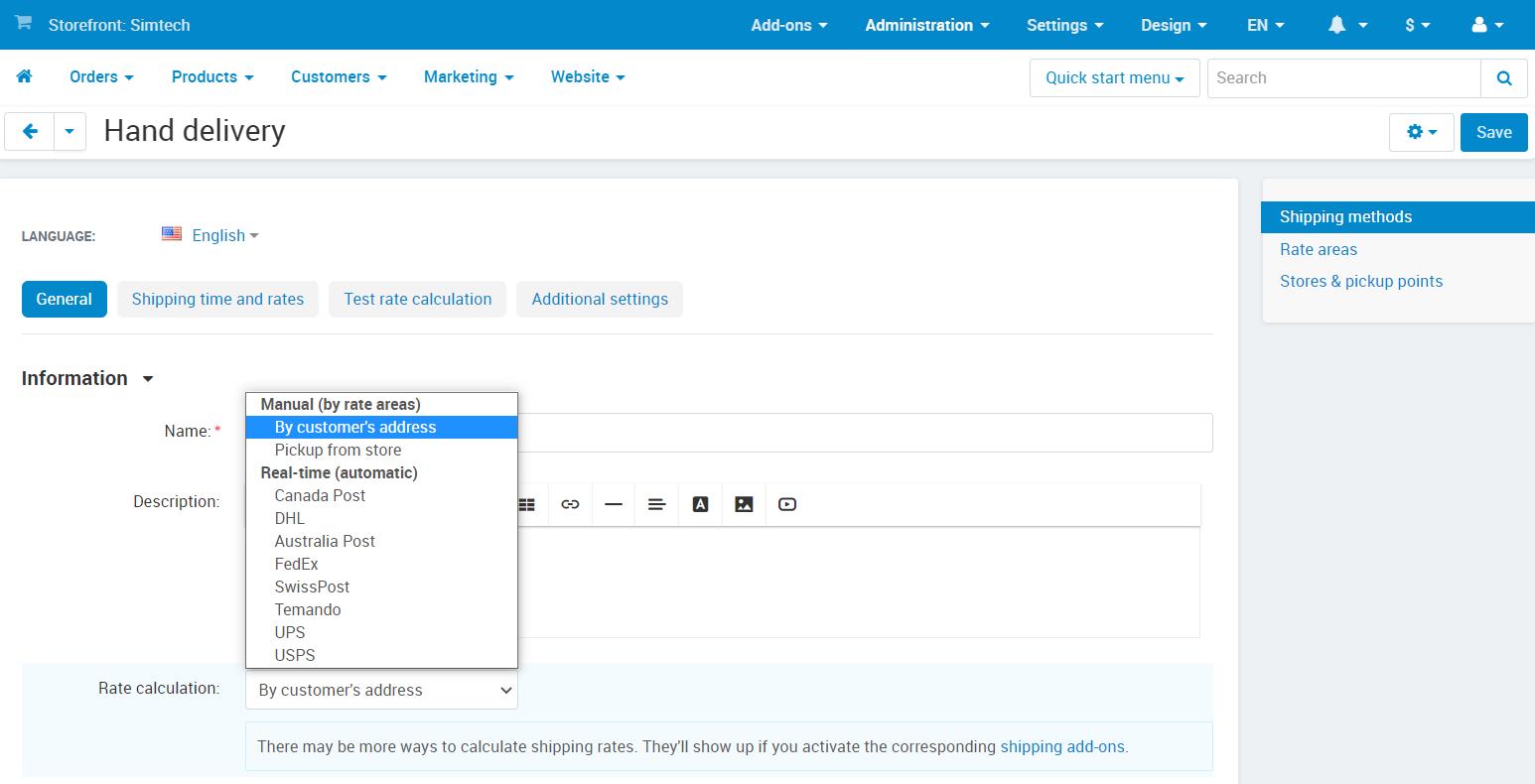 Creating a manual shipping method in CS-Cart