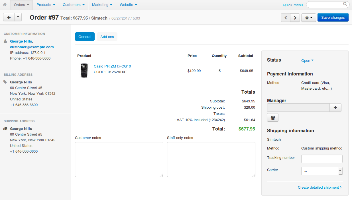 You can add comments to the order, assign a manager, and create shipments.