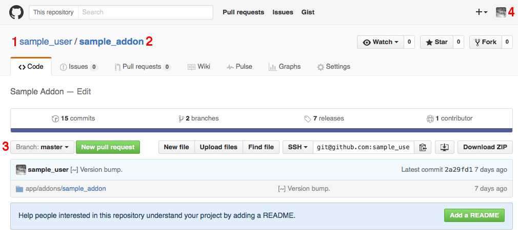 Specify GitHub username, as well as the name and branch of the repository.