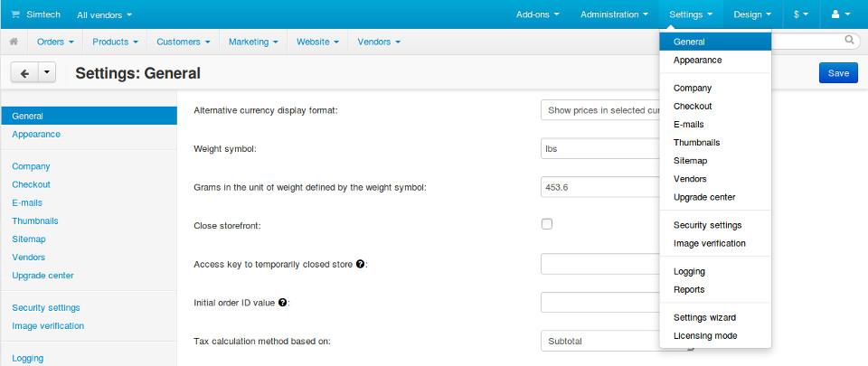 Core settings in Multi-Vendor administration panel.