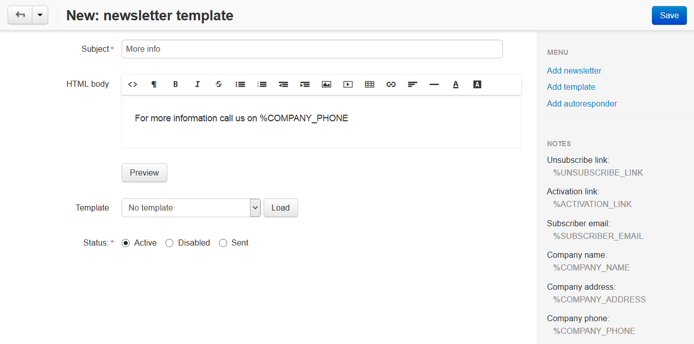 How To Create A Newsletter Template Cs Cart 4 9 X Documentation